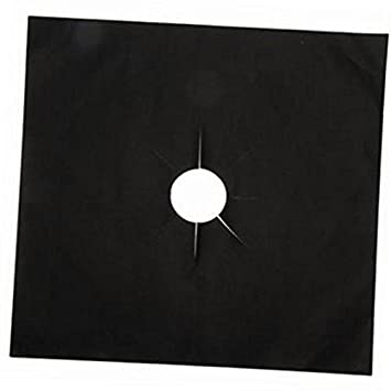 Merssavo 4 Pcs Negro de Teflón Estufa de Gas de Protección de Superficie MAT Estufa de Gas Protección MAT: Amazon.es: Hogar