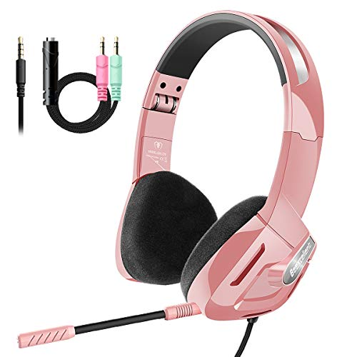 Beexcellent Gaming Headset for PS4, Wired Foldable On-Ear Kids Gaming Headphones with Mic Adjustable Headband for Adults Kids Man Women, 3.5mm Jack Compatible PS4 Xbox One PC iPad Smartphone
