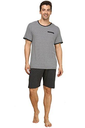 Lasher Men's Summer Cotton Sleepwear Striped Pajama Set Knit Shorts with Top Grey L