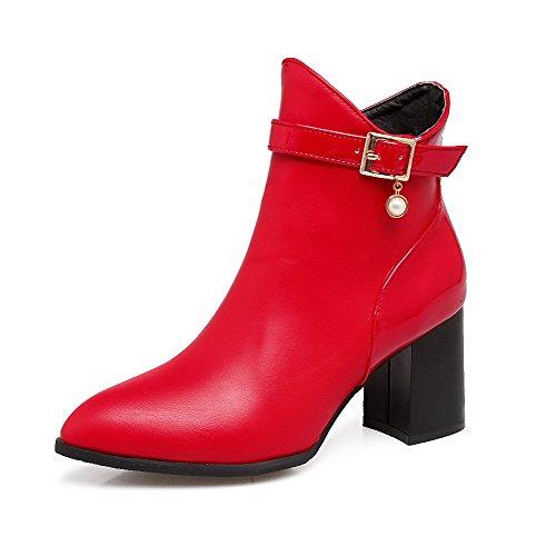 VogueZone009 Damen PU Mittler Absatz Spitz Zehe Stiefel Rot