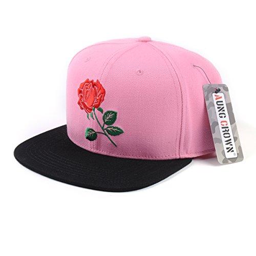 AUNG CROWN Acrylic Rose Floral Flat Bill Women Snapback Hats Adjustable Baseball Cap (Pink)