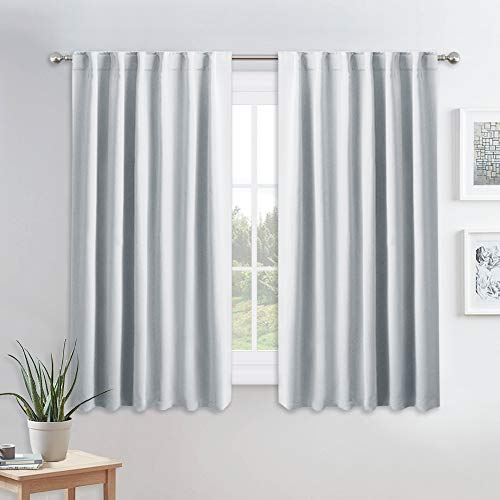 PONY DANCE Room Darkening Curtains - Thermal Insulated Draperies Light Block Curtain Drapes with Back Tab Energy Saving for Kitchen, 52