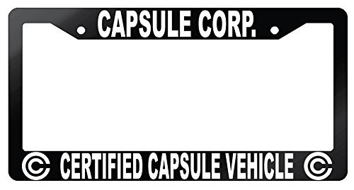 Capsule Corp Certified Capsule Vehicle Glossy Black Metal License Plate Frame Dragon Ball