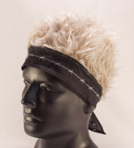 Black Barbed Wire Bandana With Blonde Hair]()