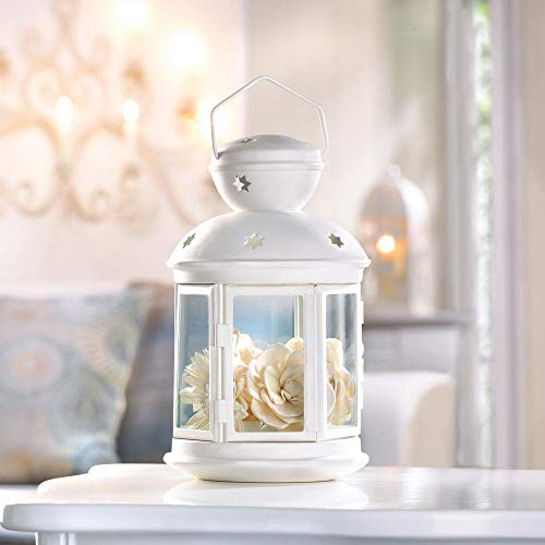 White Shabby Country Western Candle Holder Lantern Outdoor Terrace Patio lamp Decorative Centerpieces for Living Dinning Room Table Decoration, Wedding Gifts