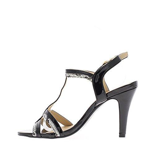 sandalias de las mujeres negras de tacón de 10,5 cm