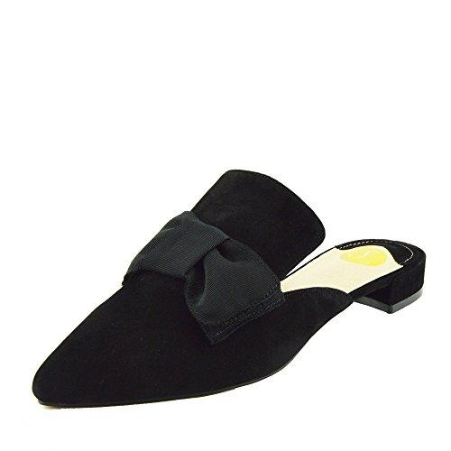 Chaussures Pantoufles Occasionnelle Kick Mules Plat Footwear Femmes Noir Velours Pointues qBvUa0q