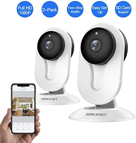 SMONET IP Security Camera, Home Security Camera Wireless with Two-Way Audio, Night Vision, Full HD 1080P 2.0 Mega-Pixel Indoor Surveillance Camera for Elder Baby Nanny Pet Monitor White,2 Packs