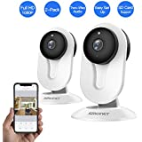 SMONET IP Security Camera, Home Security Camera Wireless with Two-Way Audio, Night Vision, Full HD 1080P 2.0 Mega-Pixel Indoor Surveillance Camera for Elder/Baby/Nanny/Pet Monitor (White,2 Packs)