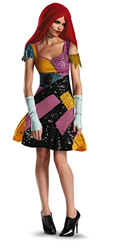 Dress Sally Costume Christmas The Nightmare Before (Disguise Tim Burtons The Nightmare Before Christmas Sally Glam Adult Costume, Yellow/Black/Purple,)