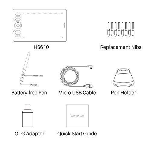Huion HS610 Graphics Drawing Tablet Android Devices Supported Tilt Function Battery-Free Stylus with 8192 Pen Pressure