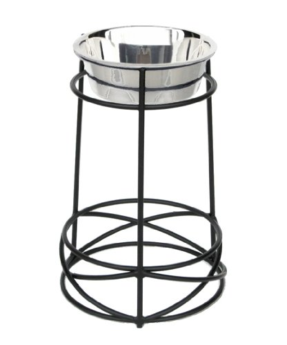 Mesh Single Bowl Diner - 18'' Tall Raised Dog Bowl - Black Finish - Wrought Iron Construction - Feeding Station, Elevated Dog Diner for Large, Big Dog Breeds - Pet Water, Food Bowl - Heavy Duty