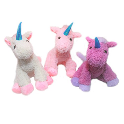 Sunflower Day Unicorn Plush Toy Set of 3 Pink Purple and Whi