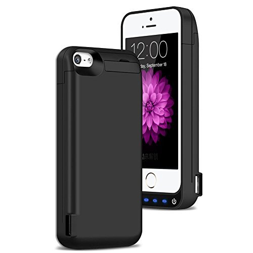 iPhone 5 / 5S / 5C / SE Battery Case , AexPower Upgraded 4800mah External Battery Backup Charging Case Protective Cover Juice Power Bank Charger Case for iPhone SE / 5S / 5C / 5- Black
