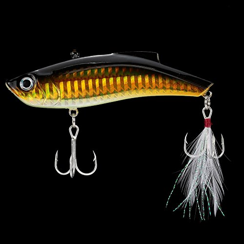 Strist(TM) 9cm 27g VIB Vibration Hard Bait Perch Killer Fishing Lure Fishing Tackle with 2 Treble Hooks Feather Pesca Fishing Tackle