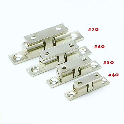 5pcs Door Holder Catch 70mm Length Zinc Alloy Door Stopper Double Ball Latch Silver Tone for Cabinet Door by Kasuki (Image #1)