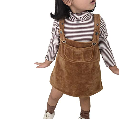 Dragon Honor Baby Little Girls Straps A-line Corduroy Pinafore Bib Pocket Overall Dress (Khaki, 90 (24M))