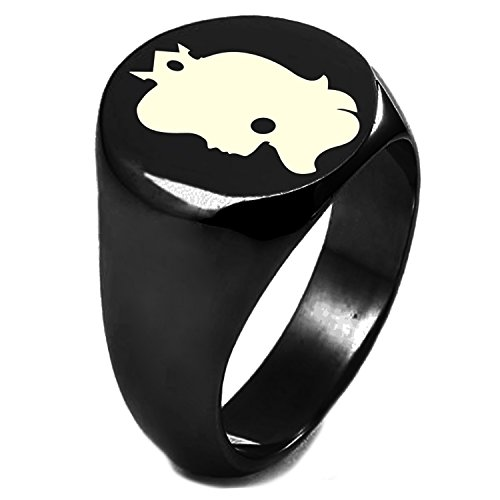 Black IP Plated Sterling Silver Super Mario Bros Princess Peach Engraved Round Flat Top Polished Ring, Size -