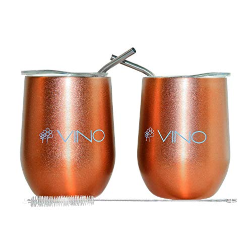 Wine Tumbler Set of 2, Insulated Stainless Steel Stemless Wine Glass with Lid and bent Straw, 12 oz - Double Wall Vacuum Cup for Wine, Cocktails, soda - Rose Gold Wine Tumbler