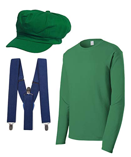 Super Plumber Brothers Friends Costume Kit (Hat,Shirt,Suspenders) - Green -Small -