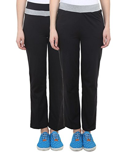 Vimal Black Cotton Blend Trackpant For Women ( Pack Of 2)