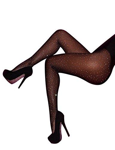 CHRLEISURE Women's Sparkle Rhinestone Fishnets Sexy Tights High Waist Stockings Black -