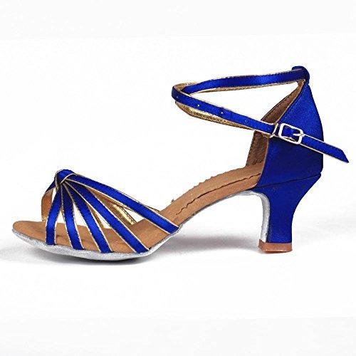 YFF Mujer Zapatos de Baile latino /Ballroom Tango 5cm/7cm 11Corlors 5cm heels blue