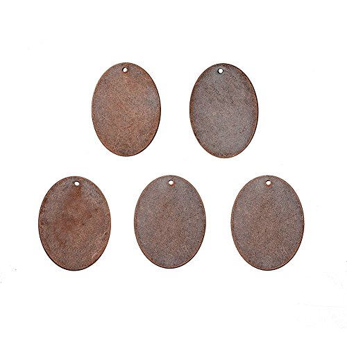 Pandahall 5pcs Red Copper Brass Blank Stamping Tag Pendants Oval Metal Tags Charms DIY Jewelry Metal Stamping