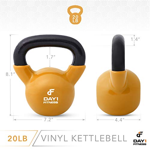 Day 1 Fitness Kettlebell Weights Vinyl Coated Iron 20 Pounds - Coated for Floor and Equipment Protection, Noise Reduction - Free Weights for Ballistic, Core, Weight Training by Day 1 Fitness (Image #2)
