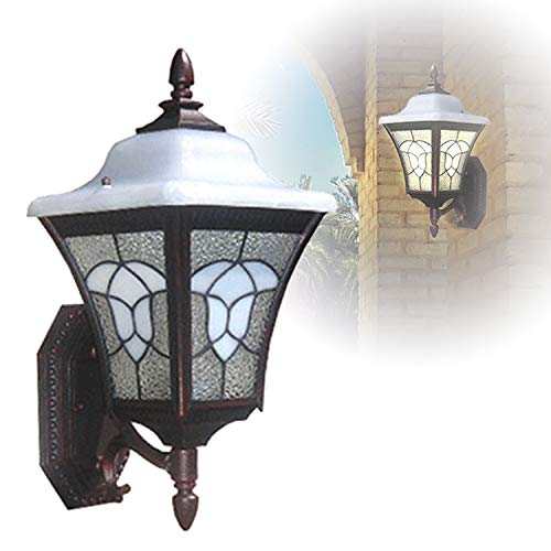 eTopLighting [Meyda Tiffany Collection] Artistic Wall Lantern Light for Outdoor, Rustic Copper Lantern Stained Glass Exterior Light Fixture, Decoration Light, APLIQ597 (Outdoor Stained Lights Wall Glass)