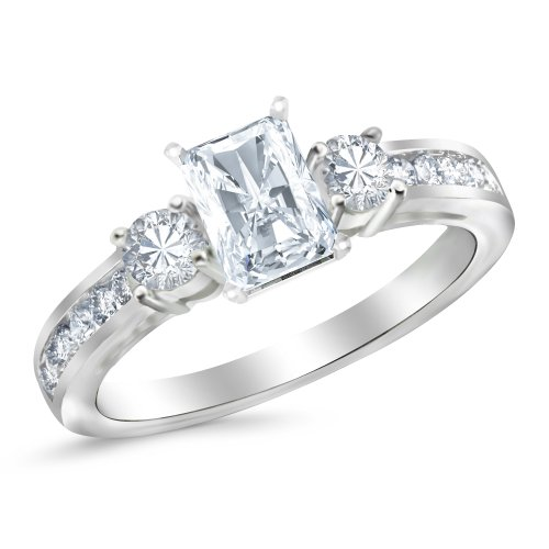 Platinum 2.72 CTW Channel Set 3 Three Stone Diamond Engagement Ring w/2.12 Ct GIA Certified Radiant Cut J Color SI1 Clarity Center