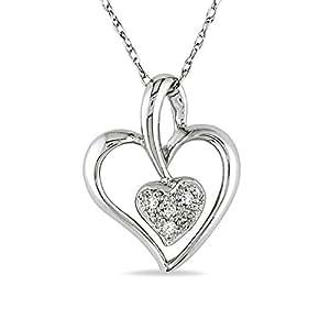 Colgante de corazón con diamante TW 0/02 CT Con cadena Oro blanco 10K GH I1;I2