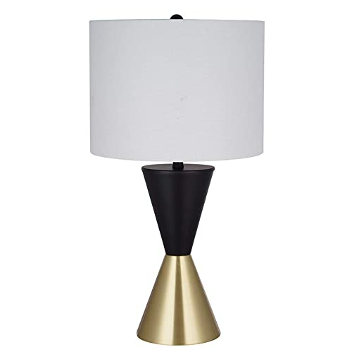 Rivet Modern Two Tone Table Desk Lamp with LED Light Bulb and Drum Shade – 12 x 12 x 15.88 Inches, Matte Black and Antique Brass
