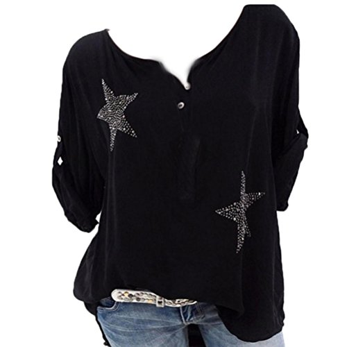 Red Coral Long Drill - Button Down Plus Size Tops Five-pointed Star Hot Drill Blouse For Women