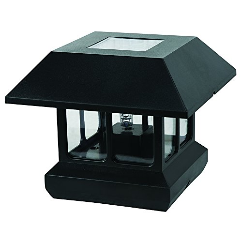 Paradise GL23124BK Plastic Solar Post Light with White LED and Clear Lens, Black (White Plastic Post)