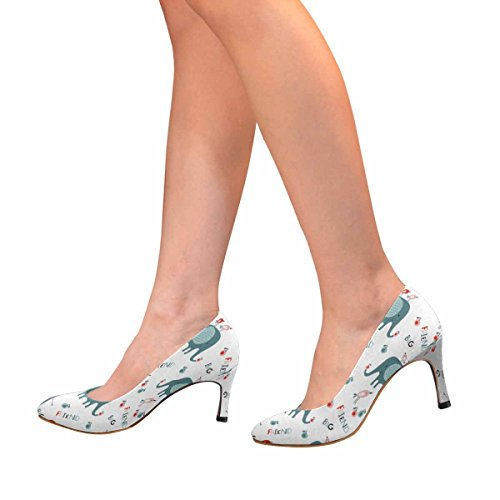 Interestprint Mujeres Classic Fashion High Heel Dress Pump Big Elephants, Little Birds Y Apples