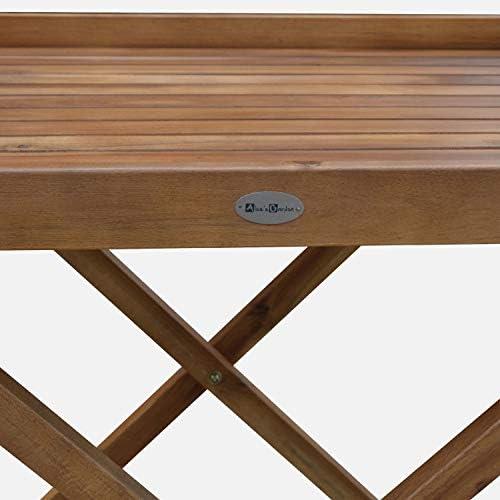 Alices Garden - Mesa auxiliar de madera Murcia con bandeja ...