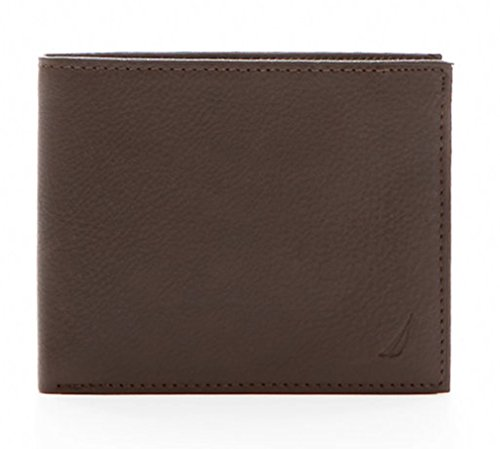Nautica Mens RFID Data Protection Pebbled Leather Bifold Wallet Passcase (One size, Brown)