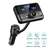 Bluetooth FM Transmitter for Car, Wireless Radio Adapter Hands-Free Calling 4.2 Bluetooth Crystal Clear Sound QC3.0/2.4A Dual USB Ports Large Display AUX TF Card Music Player Car Transmitter