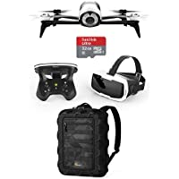 Parrot Bebop 2 Drone with Full HD Camera, Skycontroller 2 and FPV Glasses, White - Bundle With Lowepro DroneGuard CS 300 Backpack. 32GB MicroSDHC Card