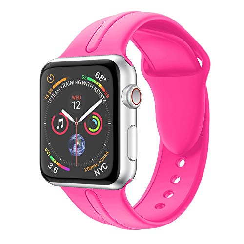 Tuscom Sport Band for Apple Watch Series 4 44mm,Soft Silicone Sport Strap Replacement Bands,Skin-Friendly and Comfortable(5.51