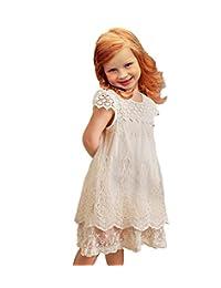 APRIL GIRL Vintage Rustic Lace Flower Girl Dress Ivory