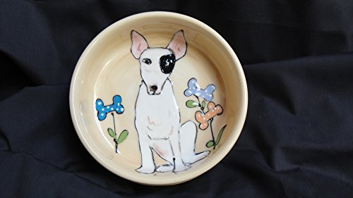 Pit Bull Terrier, 10'' Dog Bowl for Food or Water. Personalized at no Charge. Signed by Artist, Debby Carman. by Faux Paw Productions, Inc., Laguna Beach, CA