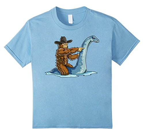 Sasquatch Infant Costume (Kids Bigfoot Riding Loch Ness Monster T Shirt Funny Sasquatch Tee 12 Baby)