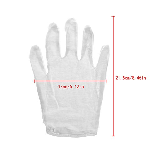 Techinal 12 Pair White Cotton Gloves, Coin Jewelry Silver Inspection Gloves for Inspection Work, Home Garden work by Techinal