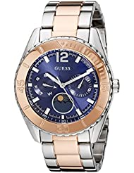 GUESS Womens U0565L3 Two-Tone Stainless Steel Blue Dial Watch