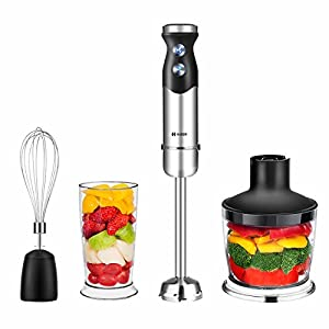 Habor Immersion Blender with 7-Speed Stick Blender, Smart Hand Blender Set with Egg Whisk, Food Processor and Blending Jar for Smoothies Puree Soup Juice-BPA-Free