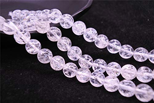 - Grade AA Natural Clear Quartz Crackle Beads, Smooth Round 6mm 8mm 10mm 12mm 14mm, 15.4 Inch Strand (GW22) (6mm)