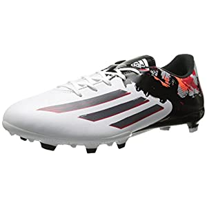 adidas Performance Men's Messi 10.3 Firm-Ground Soccer Cleat, White/Sharp Grey/Light Scarlet, 8.5 M US