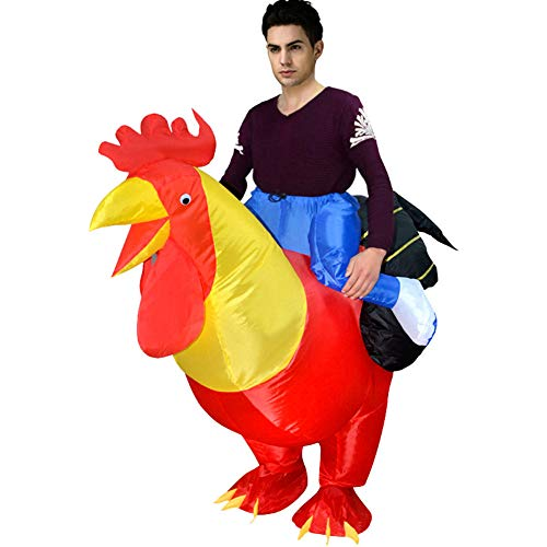 BlueSpace Inflatable Costumes Hallowenn Cosplay Costumes Gaint Rooster Suit for Audlts and Kids,Red,Large -
